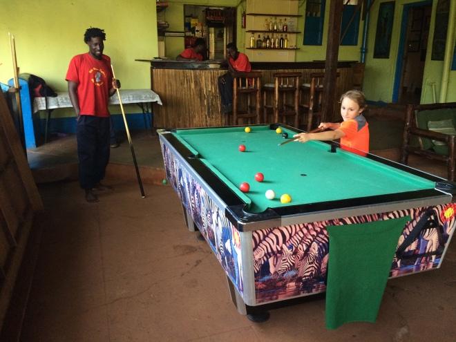 James playing pool