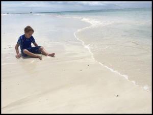 Playing on Diani Beach