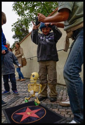 Played with a marionette.