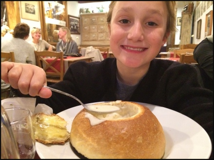 Cheese Soup...in a bread bowl. AWESOME!