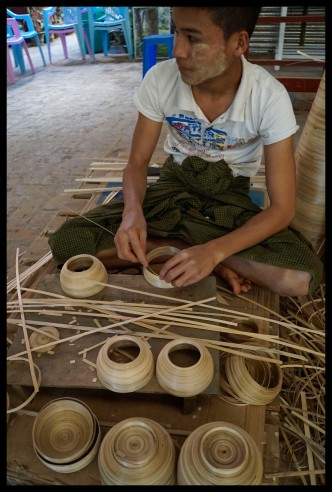 Making bamboo bowls for the laquerware