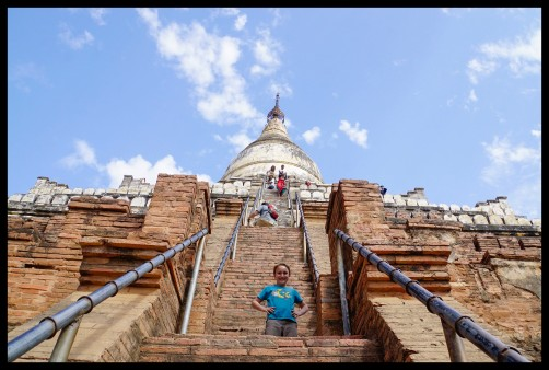 Climbing a very steep pagoda