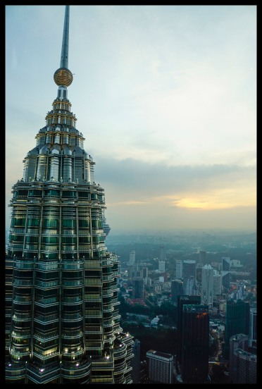 Top of the Petronas Twin Towers at sunset