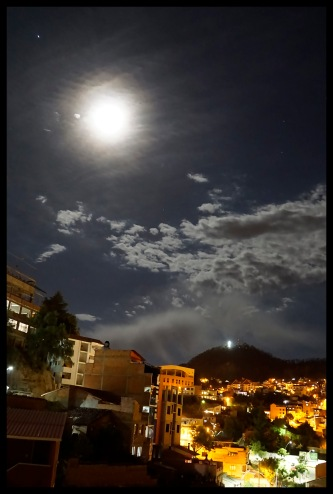 Moon view of Sucre at night