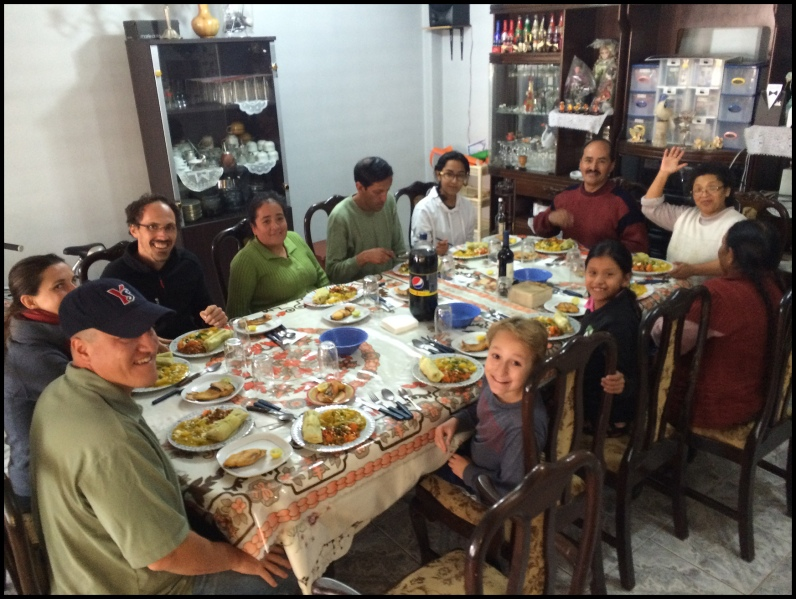 Good Friday dinner with our host, the Munoz Family, and othere guests Amelie and Antoine from France.