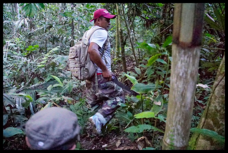 Hacking through the jungle with a machette.