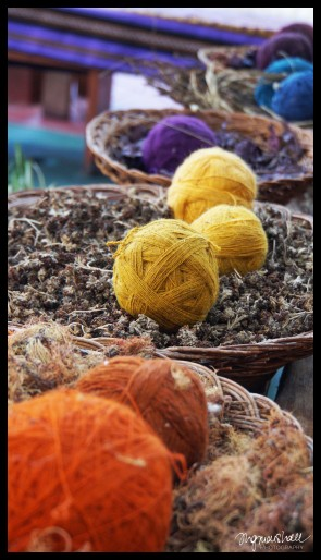 Colorful yarn with the natural material the colors are made from