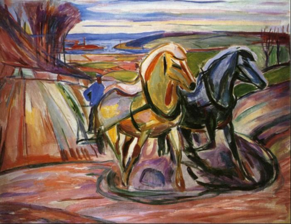 Edvard Munch. Spring Plowing. 1916. Oil on canvas. 84 x 109 cm. Munch Museum, Oslo, Norway.