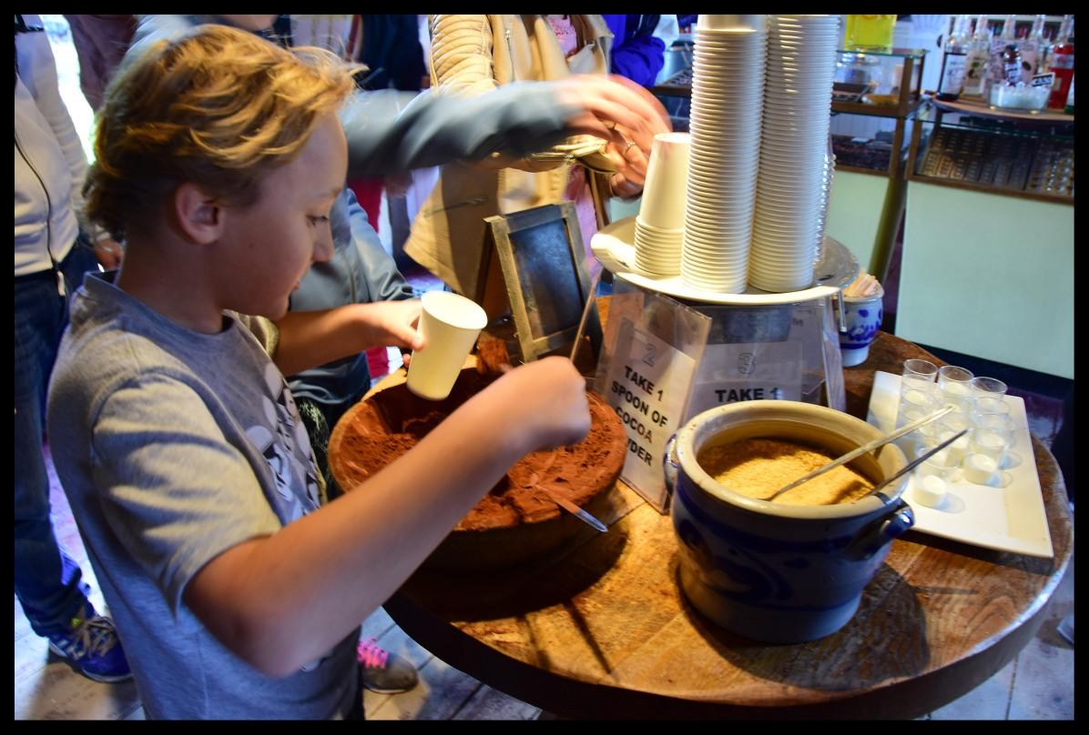 Making hot chocolate.