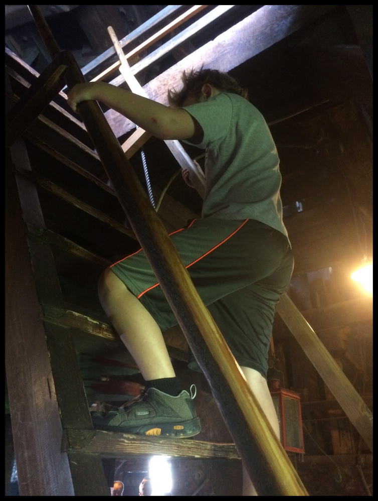 Climbing the stairs in a windmill