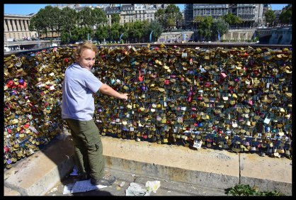 Put a lock of love for mom and dad on the Pont des Artes bridge!