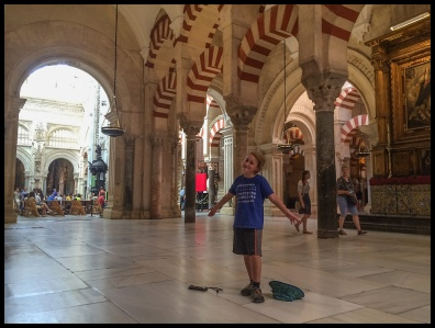 Inside the mosque with the catherdral in the background