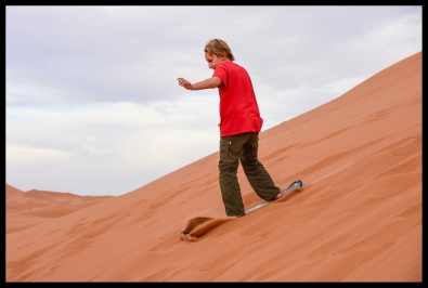 Sandboarding the dunes of the Sahara