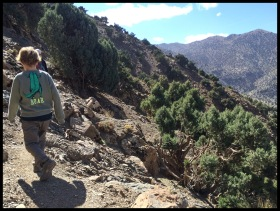 Hiking to the Berber village in Azadan Valley.