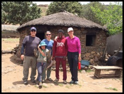 With our village host, Mpoh, and Inge, from Holland.