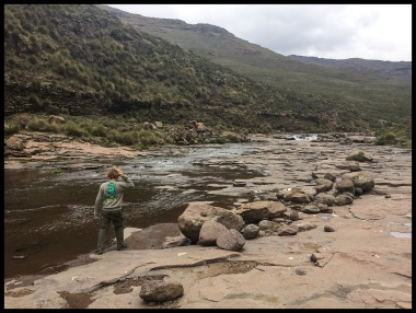 Exploring the river in Lesotho.