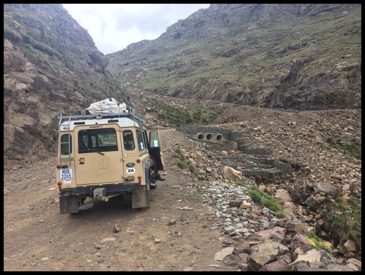 Our vehicle going up the road to Sani pass.