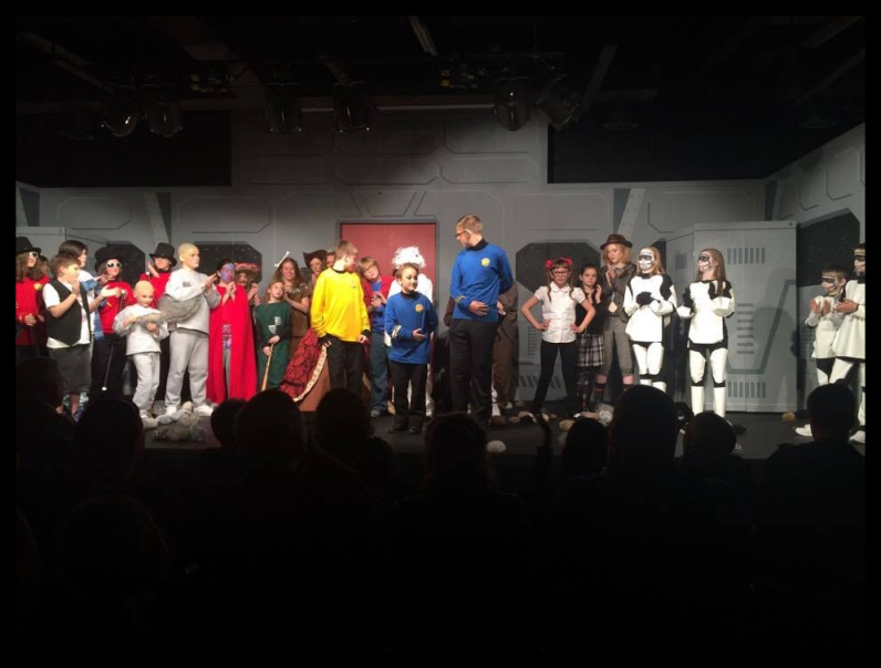 Curtain call with most of the cast after a performance